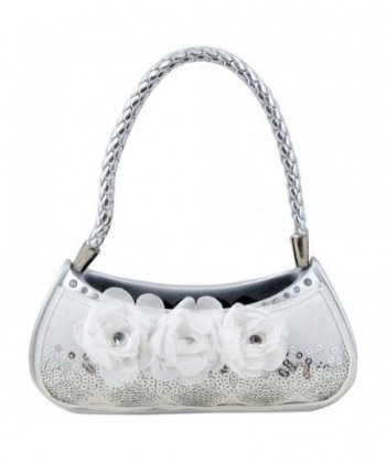 Sequined Rose Purse Holder White
