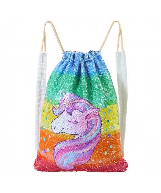 Basumee Unicorn Reversible Drawstring Backpacks