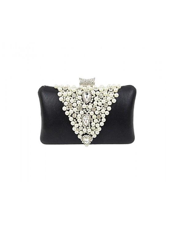 Fashion Faux Pearl Cascading Bead Rhinestone Clutch Pearl Purses Luxury Bag for Women
