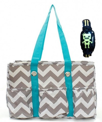 Chevron Print Quilted Tote Bag AQUA