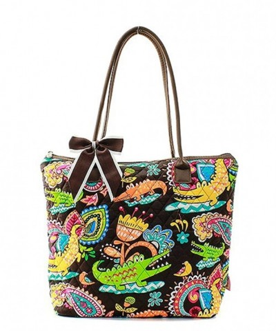 Quilted Crocodile Print Tote Bag