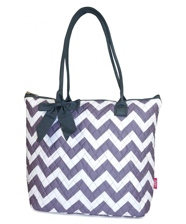 Quilted Grey Chevron Tote Bag