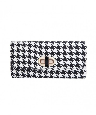 Classic Houndstooth Turnlock Clutch Handbag