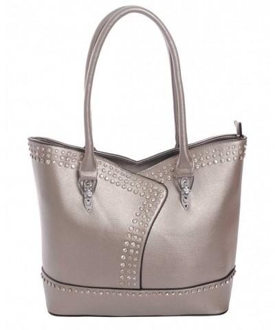 Rhinestone Leatherette Concealed Handbag Pewter