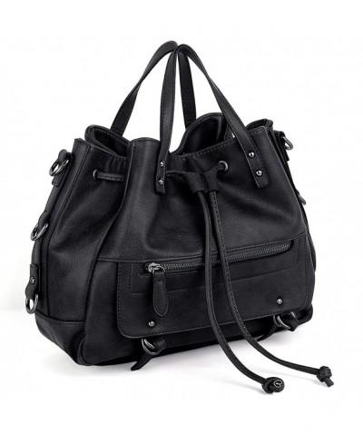UTO Leather Shoulder Handbag Drawstring
