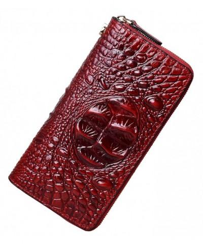 PIJUSHI Wristlet Wallet Crocodile Leather