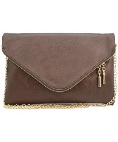 leather envelope clutch crossbody BRONZE