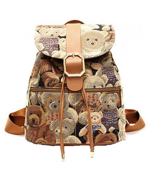 Win8Fong Vintage Printing Backpack Coffee