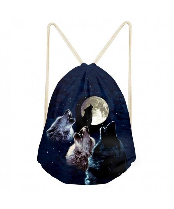 6d0bd77d0cbf Cool Design Moon Wolf Drawstring Bag Backpack Gym Sport Cinch Sack Pack -  Wolf 9 - C218CNWSSRA