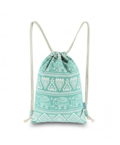Miomao Drawstring Backpack Elephant Geometric