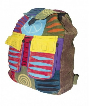 Handmade Colorful Ripped Hippie Backpack