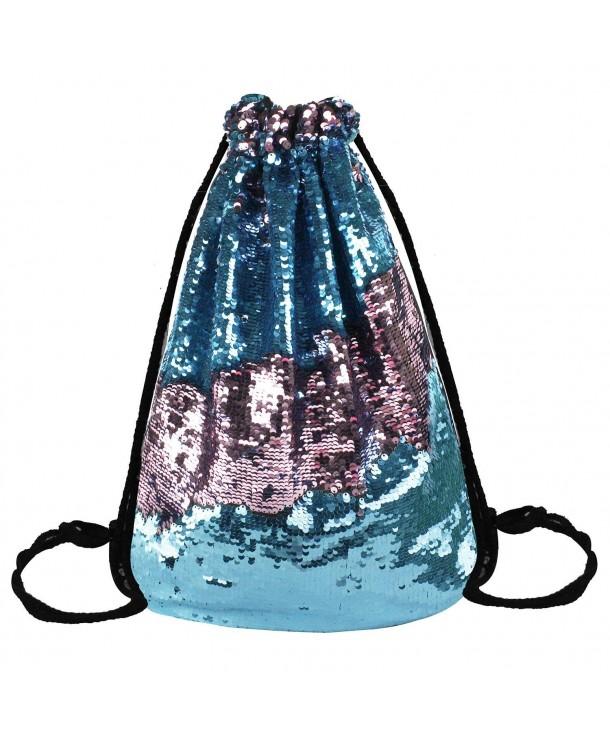 Reversible Sequins Drawstring GlitterShoulderbag Backpack