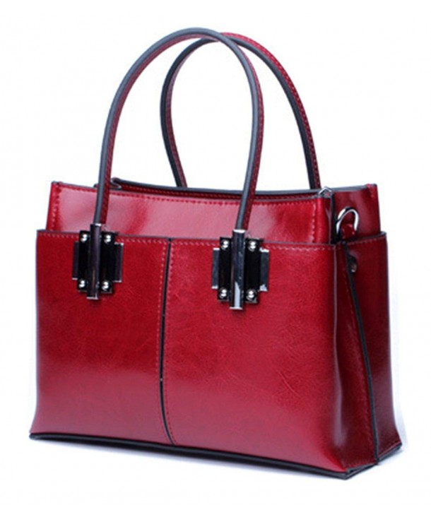 501fde36cdbb Ladies Designer Womens Genuine Leather Handbags Tote Shoulder Bags - Red  Wine - CI187GURZXX
