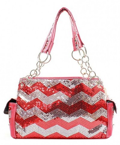 Sequin Chevron Stripe Satchel Handbag