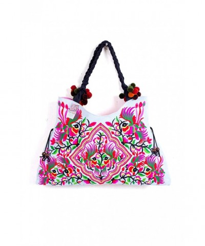 Triangle TribeTote Hmong White Embroidered