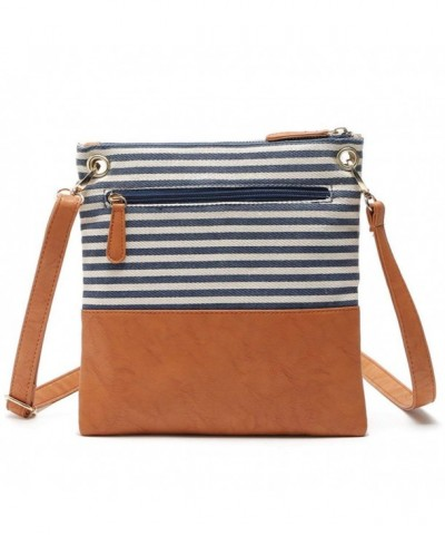 Stripe Crossbody Shoulder Canvas Leather
