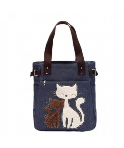 YZSKY Canvas Handbag Cartoon Blue