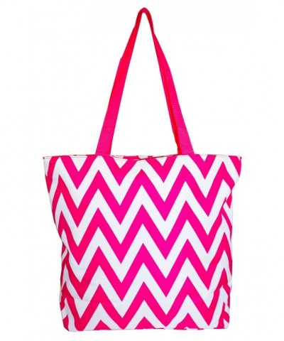 Ever Moda Chevron Tote Pink