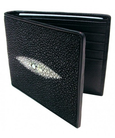Stingray Leather Bi Fold Wallet Black