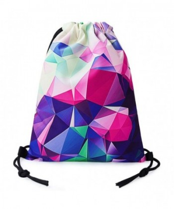 TUONROAD Drawstring Backpack Geometric Colorful