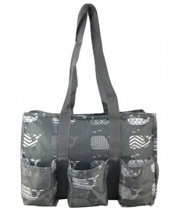 7 Pocket Tote Zipper Gray Whales