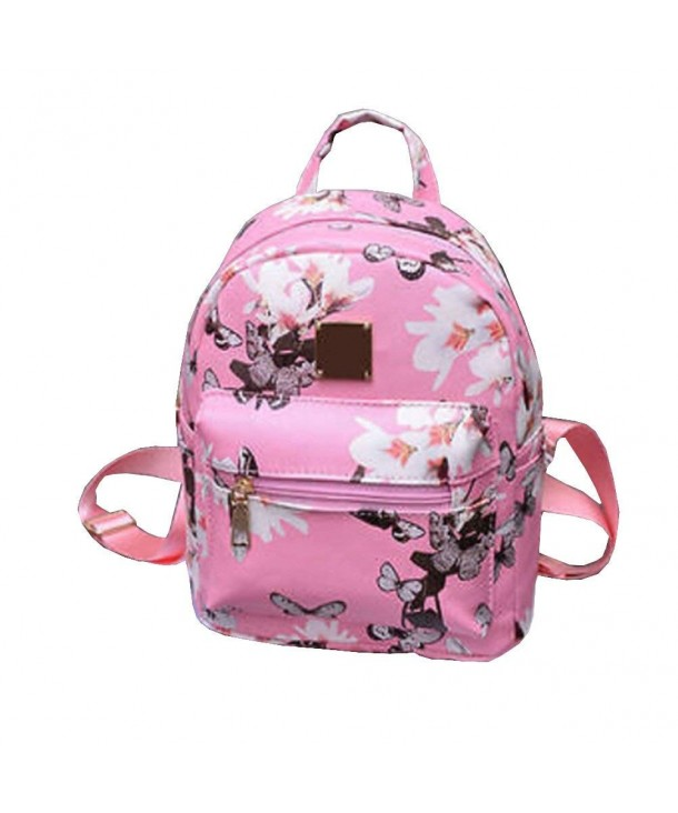 Backpack Causal Floral Printing Leather