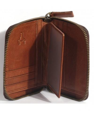 Genuine Leather Zip around Bifold Wallet
