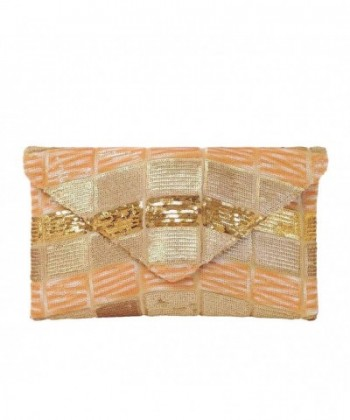 Multicolor Sequin Evening Clutch Gold
