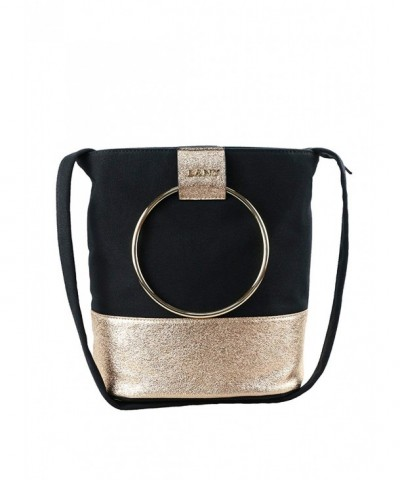 Textured Metallic Handles Handbag Crossbody
