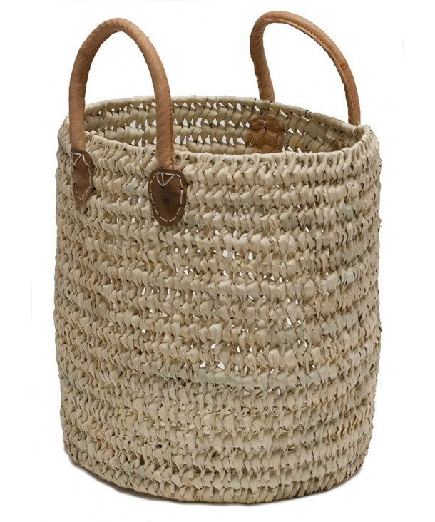 Moroccan Straw Round Leather Handles