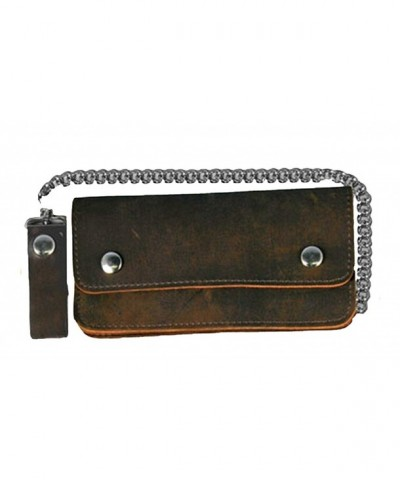 Leather Biker Billfold Wallet Distressed