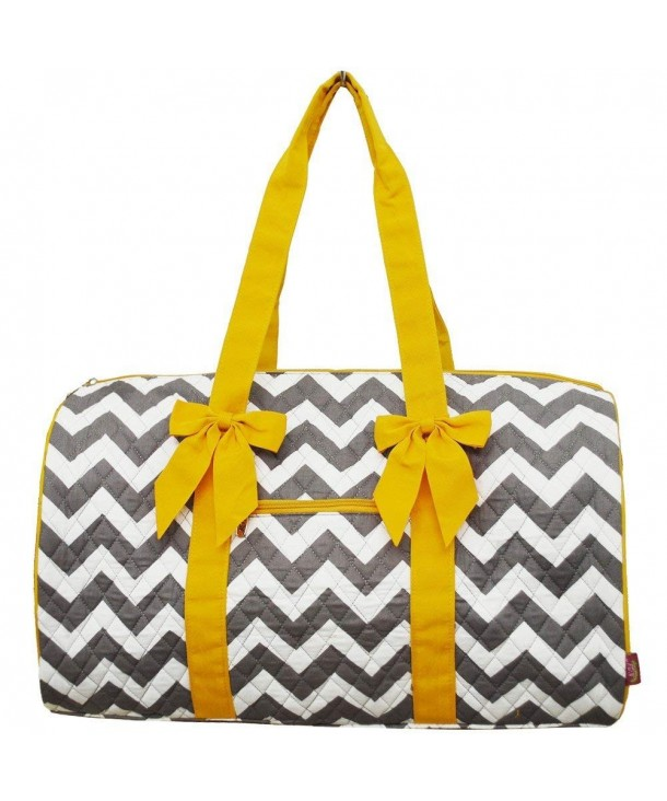 Chevron Print Large Quilted Duffle