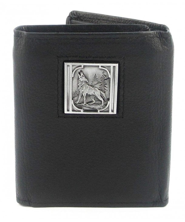 Howling Wolf Leather Tri fold Wallet
