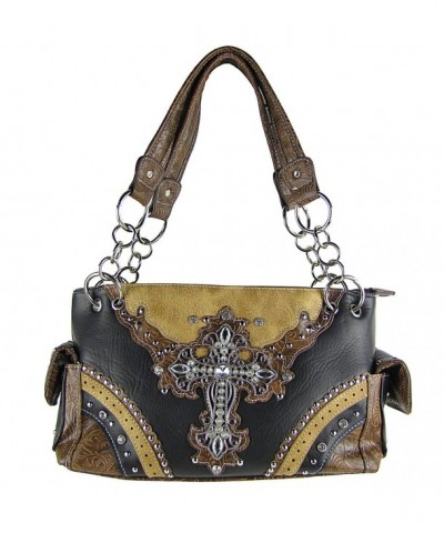 Western Leather Rhinestone Shoulder Handbag