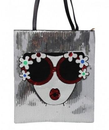 BoutiqueS Sequin Paillette shoulder Silver flower
