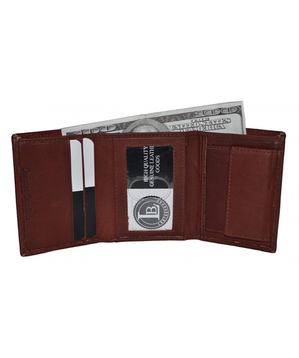 Compact Pocket Trifold Wallet Burgundy
