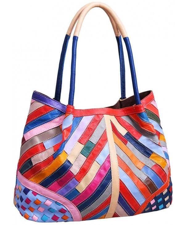 Sheepskin Leather Handbags Shoulder Colorful 45