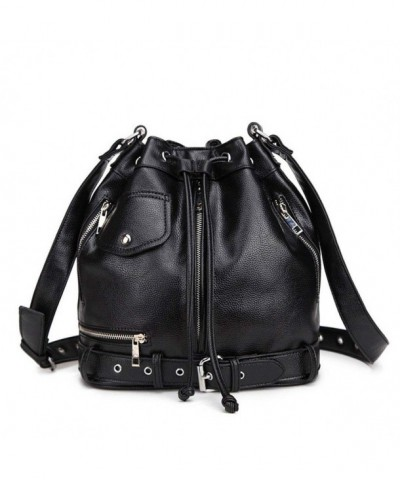 Hynbase Fashion Leather Drawstring Shoulder