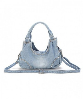 Donalworld Women Flower Handbags Ltblue