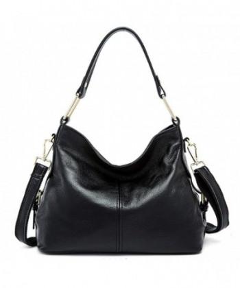 Genuine Leather Handbags Shoulder Black 1