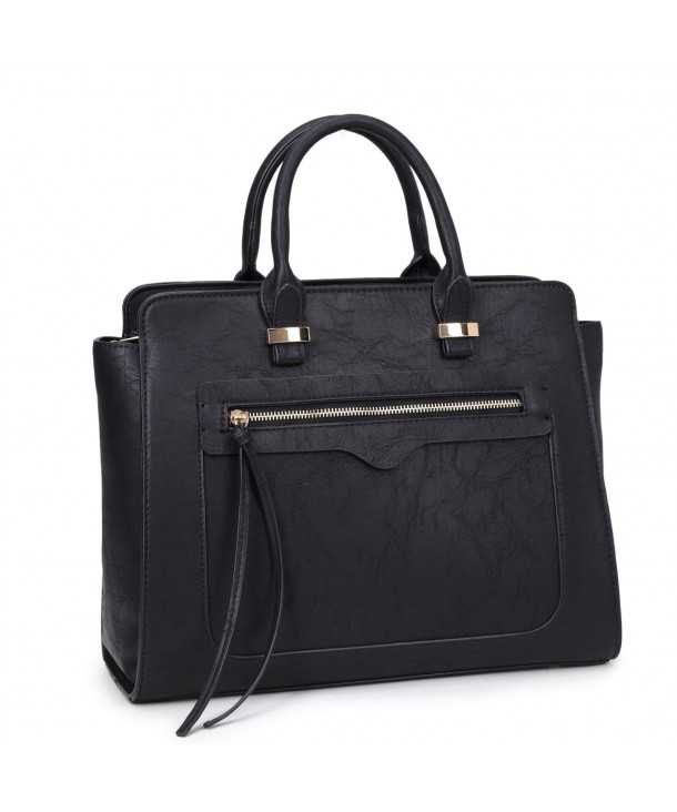 Women Vegan Leather Handbag Designer Purse Satchel Bag With Crossbody Strap 0xl6352 Black C011x5x0713