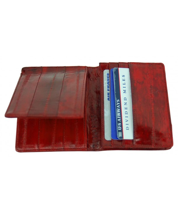 Genuine Eelskin L shape Wallet Burgundy