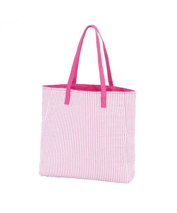 High Fashion Pink Seersucker Tote