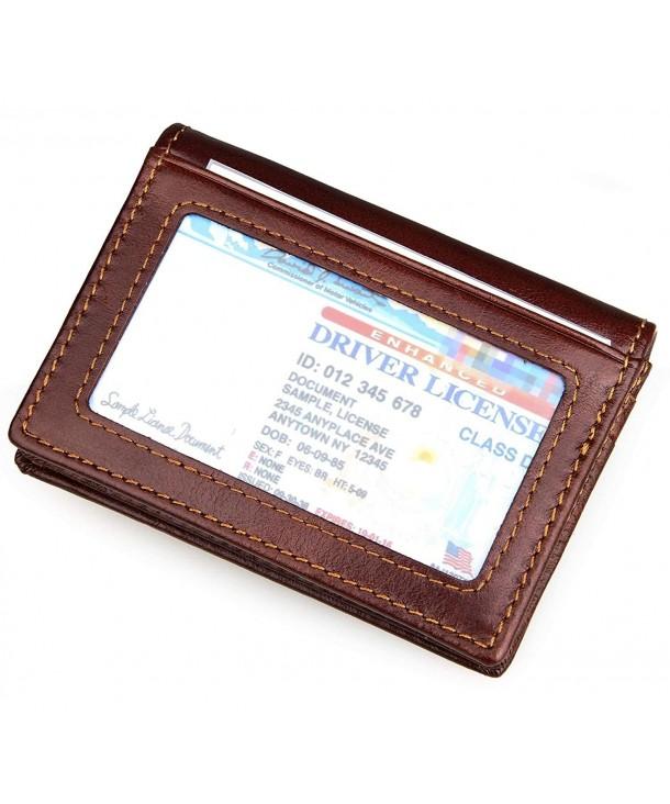 82b017f179e0 RFID Blocking Slim Leather Bifold Wallet Credit Card Case Holder With ID  Window - CT12GKR49HD