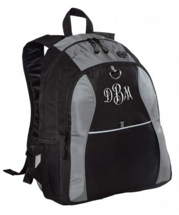 Personalized Contrast Backpack Embroidered Monogram