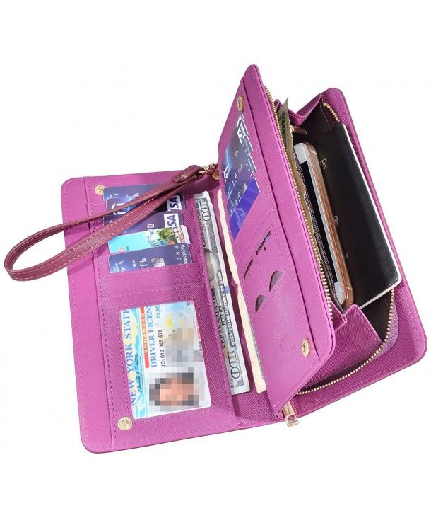 Leather Wallet Zipper Credit Crosshath