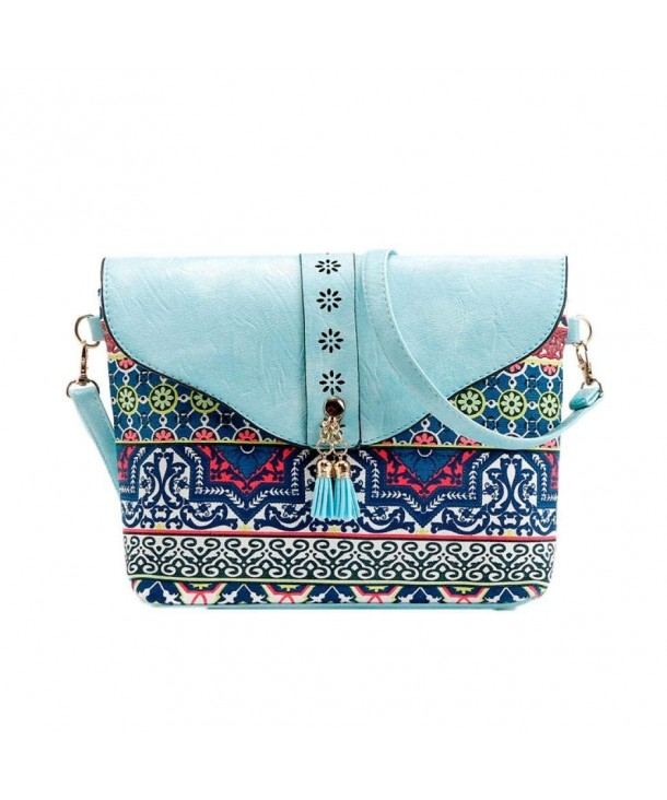 e9d38752f7de Clearance! Women Flower Print Handbags Sweet Pattern Shoulder Messenger Bag  - Sky Blue - CY182LWK4M2