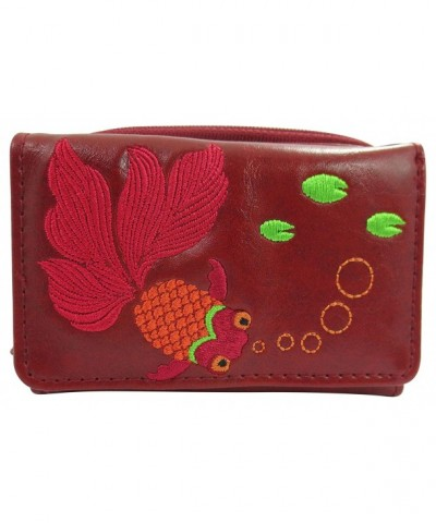 Lavishy Goldfish Embroidery Small Wallet