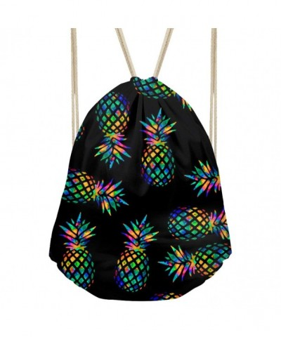 Drawstring Backpack Pineapple Pattern Outdoor