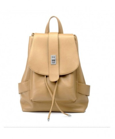 Style Material LeatherCasual Backpack Khaki